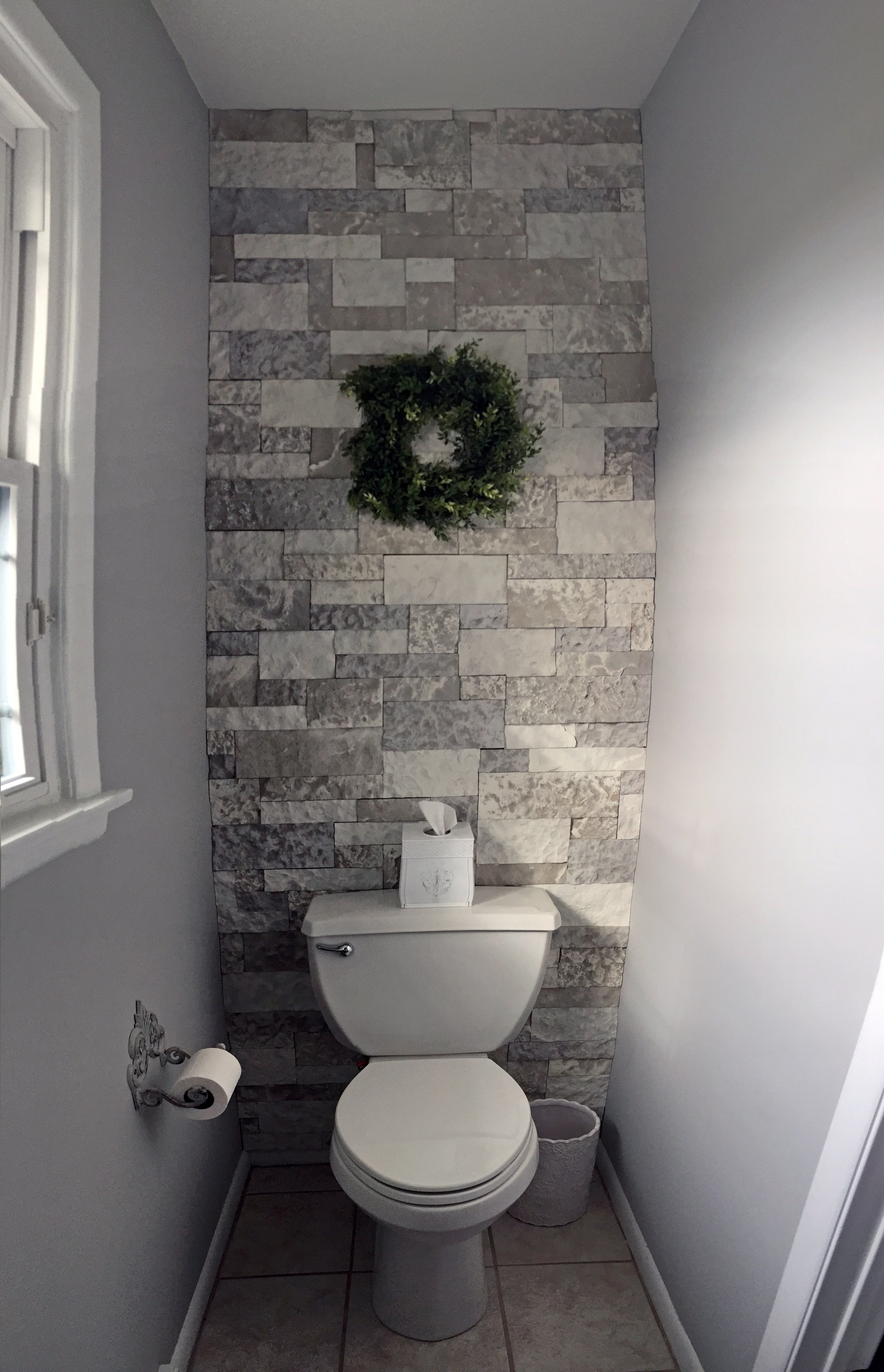 Airstone bathroom accent wall the kelly homestead - Accent color for gray and white bathroom ...